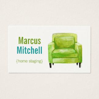 Hem- byggnadsställningvisitkortar - vågrät - grönt visitkort