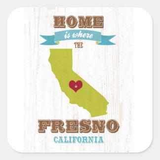 Hem- Fresno Kalifornien karta - är var hjärtan är Fyrkantigt Klistermärke