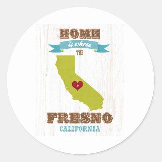 Hem- Fresno Kalifornien karta - är var hjärtan är Runt Klistermärke