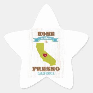 Hem- Fresno Kalifornien karta - är var hjärtan är Stjärnformat Klistermärke