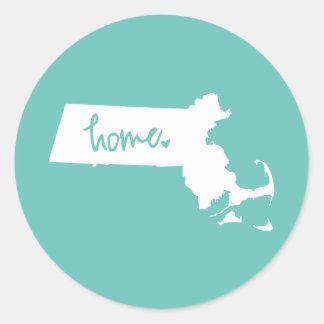 Hem- Massachusetts beställnings- färg Runt Klistermärke