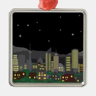 Hem och skyscraper för Cityscapenattvektor Julgransprydnad Metall