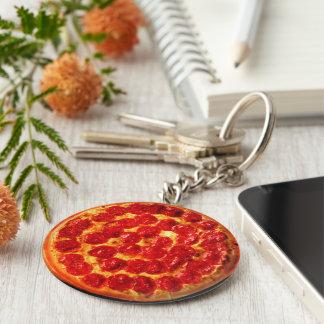 Hem- skivapeperoniPizza Rund Nyckelring