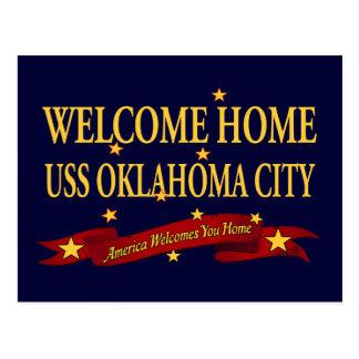 Hem- USS oklahoma city för välkomnande Vykort