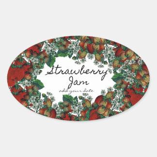 Hemlagad jordgubbesyltetikett ovalformat klistermärke
