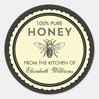 Hemlagade honungklistermärkear för vintage runt klistermärke