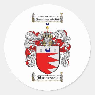 HENDERSON FAMILJVAPENSKÖLD - HENDERSON VAPENSKÖLD RUNT KLISTERMÄRKE