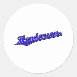 Henderson i blått runt klistermärke