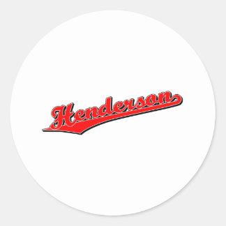 Henderson i rött runt klistermärke