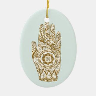 Henna räcker lotusblomma julgransprydnad keramik