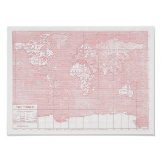 Henne karta för värld för vintage för världs~ rosa affisch