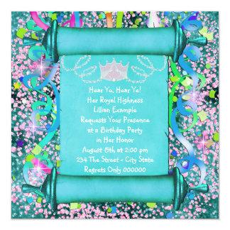 Henne Princess födelsedagsfest för kunglig Fyrkantigt 13,3 Cm Inbjudningskort