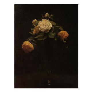 Henri Latour- vit & gul ros i en högväxt vas Vykort