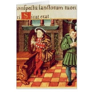 Henry VIII som leker en harpa med hans dumbom, ska Hälsningskort