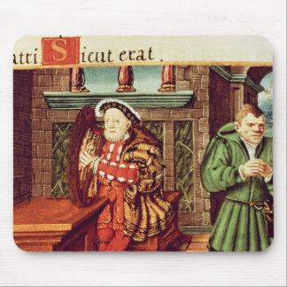 Henry VIII som leker en harpa med hans dumbom, ska Musmatta