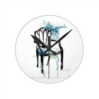 Hepplewhite stol - vattenfärg rund klocka