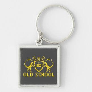 Heraldisk PIXELDinosaur Keychain Fyrkantig Silverfärgad Nyckelring