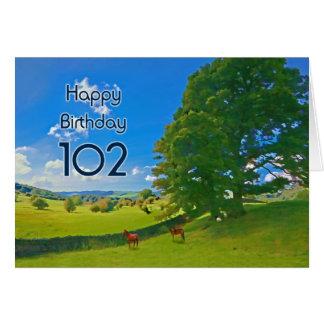 Herdabrevet landskap det 102. födelsedagkortet för hälsningskort