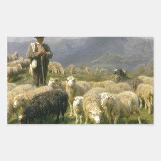 Herde av Pyreneesna vid Rosa Bonheur Rektangulärt Klistermärke