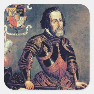 Hernando Cortes Fyrkantigt Klistermärke
