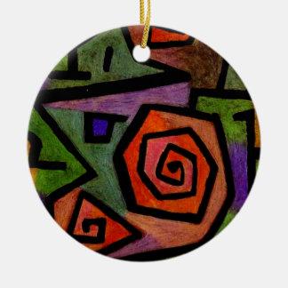 Heroiska ro vid Paul Klee abstrakt konst Rund Julgransprydnad I Keramik