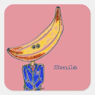 Herr bananklistermärkear fyrkantigt klistermärke