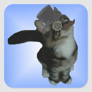 Herr Biffles klistermärkear - blåttglöd Fyrkantigt Klistermärke