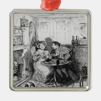 Herr bumble och Fru Corney som tar tea Silverfärgad Fyrkantigt Julgransprydnad