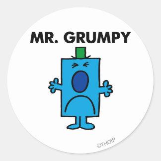Herr Grumpy | Frowning ansikte Runt Klistermärke