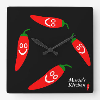 Herr hettpeppar - personligkök fyrkantig klocka