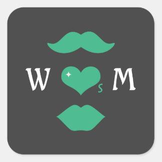 Herr kärlekFru Monogram Fyrkantigt Klistermärke