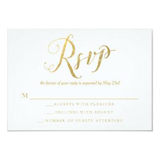Herr & kort för svar för Fru guld- elegant 8,9 X 12,7 Cm Inbjudningskort
