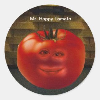 Herr lyckliga tomatklistermärkear runt klistermärke