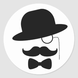 Herr med moustachen runt klistermärke