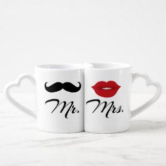 Herr och Fru älskare uppsättning för mugg Hjärtformad Mugg
