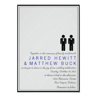 Herr och Herr Två brudgummar som gifta sig 12,7 X 17,8 Cm Inbjudningskort