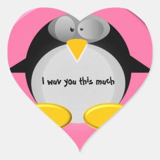 Herr pingvin - I-wuv dig denna mycket Hjärtformat Klistermärke