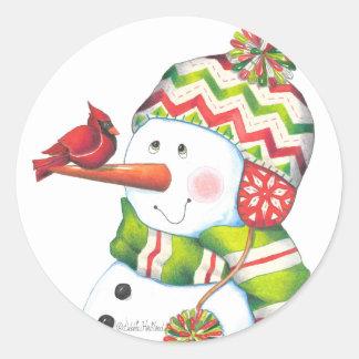 Herr snögubbeklistermärke runt klistermärke