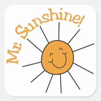 Herr solsken fyrkantigt klistermärke