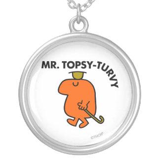 Herr Topsy-Turvy   uppochnervänd hatt & käpp Silverpläterat Halsband