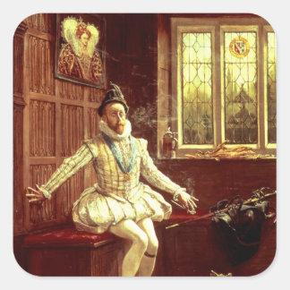 Herr Walter Raleighs röker först Fyrkantigt Klistermärke