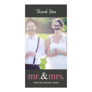 HERRSKAP som gifta sig tackkort - grått Fotokort