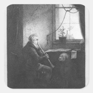 Hertig Esterhazy som leker klarinetten, 1809 Fyrkantigt Klistermärke