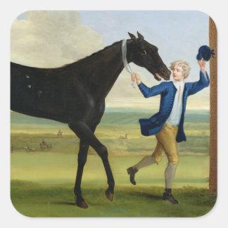"""Hertigen av Rutlands """"Bonny svart"""", c.1720 (olje- Fyrkantigt Klistermärke"""