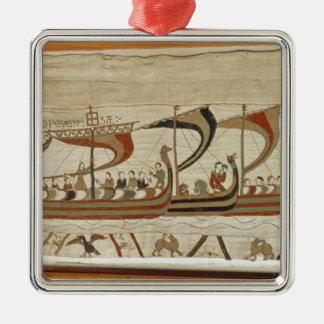 Hertigen William och hans flotta korsar kanalisera Silverfärgad Fyrkantigt Julgransprydnad