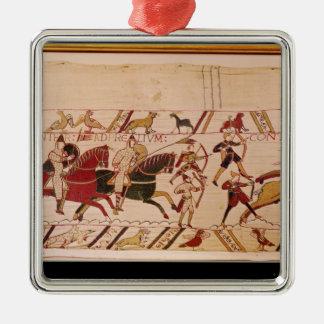 Hertigen William uppmanar hans soldater Silverfärgad Fyrkantigt Julgransprydnad