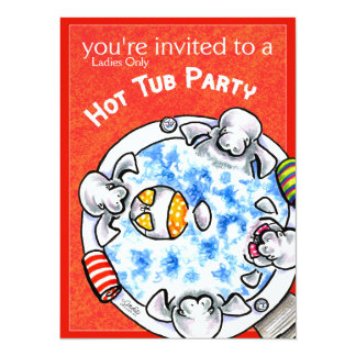Hot Tub Party Funny Manatees Off-Leash Art™ Red