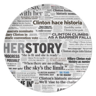 Hillary 2016 historiska rubrikCollage pläterar Tallrik