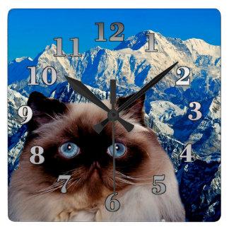 Himalayan katt fyrkantig klocka