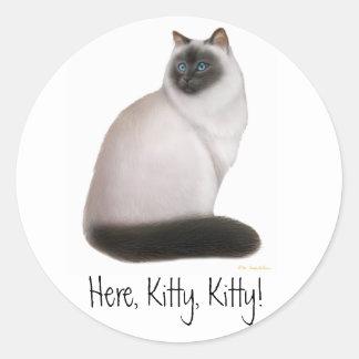 Himalayan kattungeklistermärke för anpassade runt klistermärke